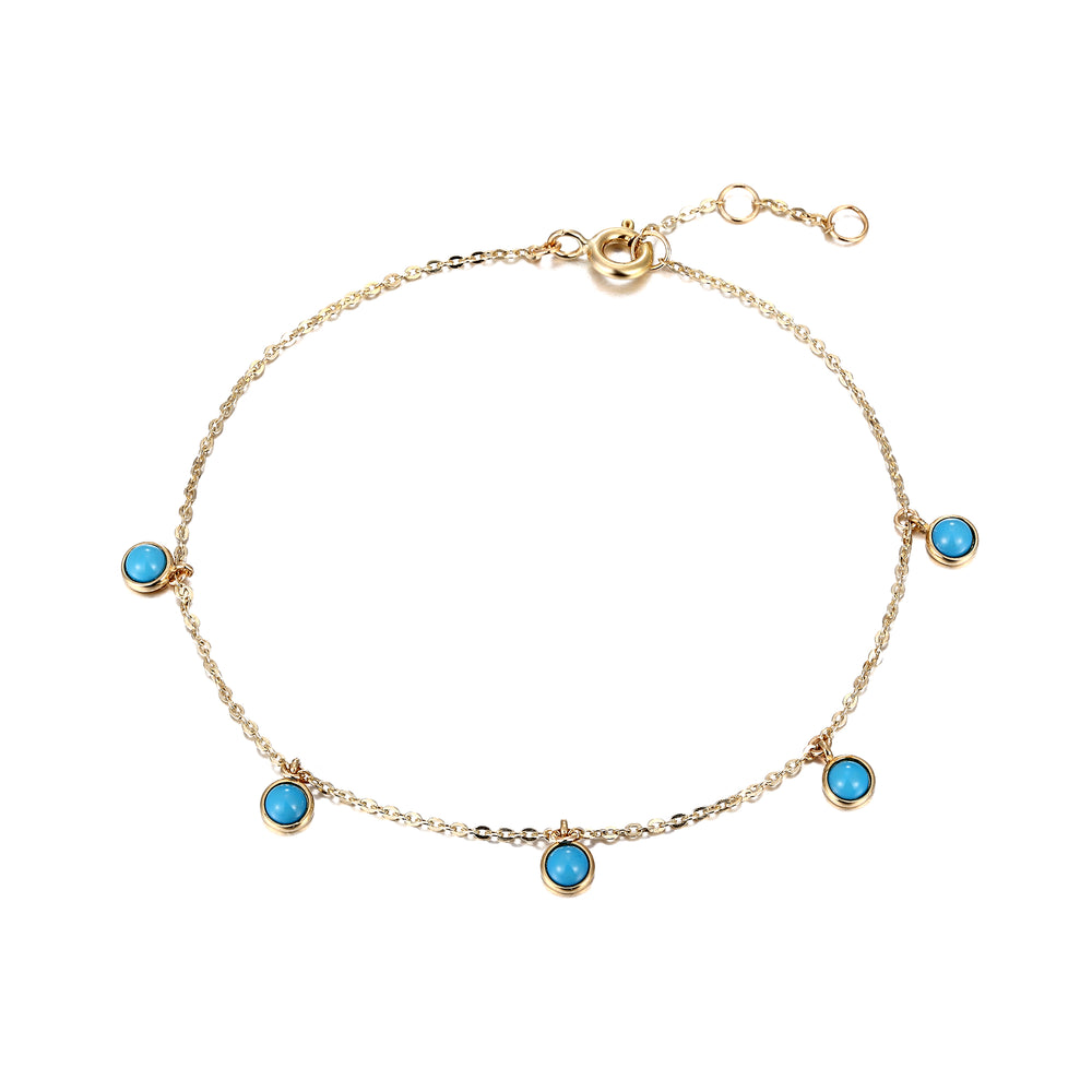 9ct gold turquoise bracelet - seol-gold