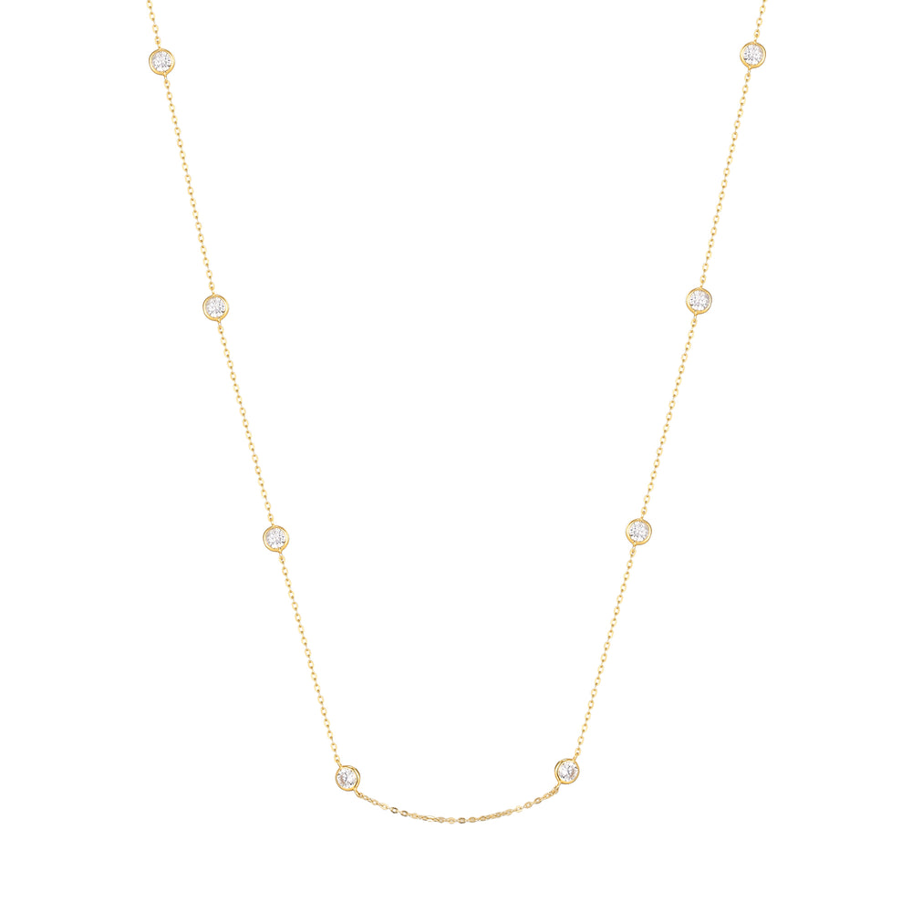 9ct Gold CZ Studded Chain Necklace