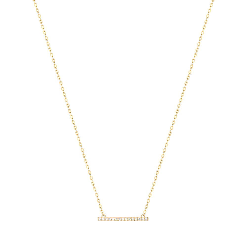 9ct Gold CZ Parallel Bar Necklace
