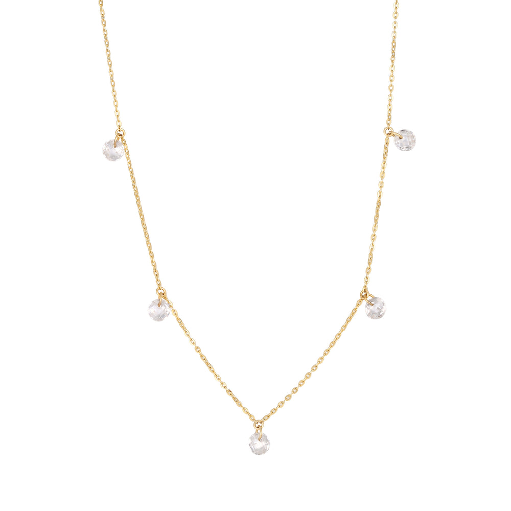 9ct Gold CZ Charm Necklace