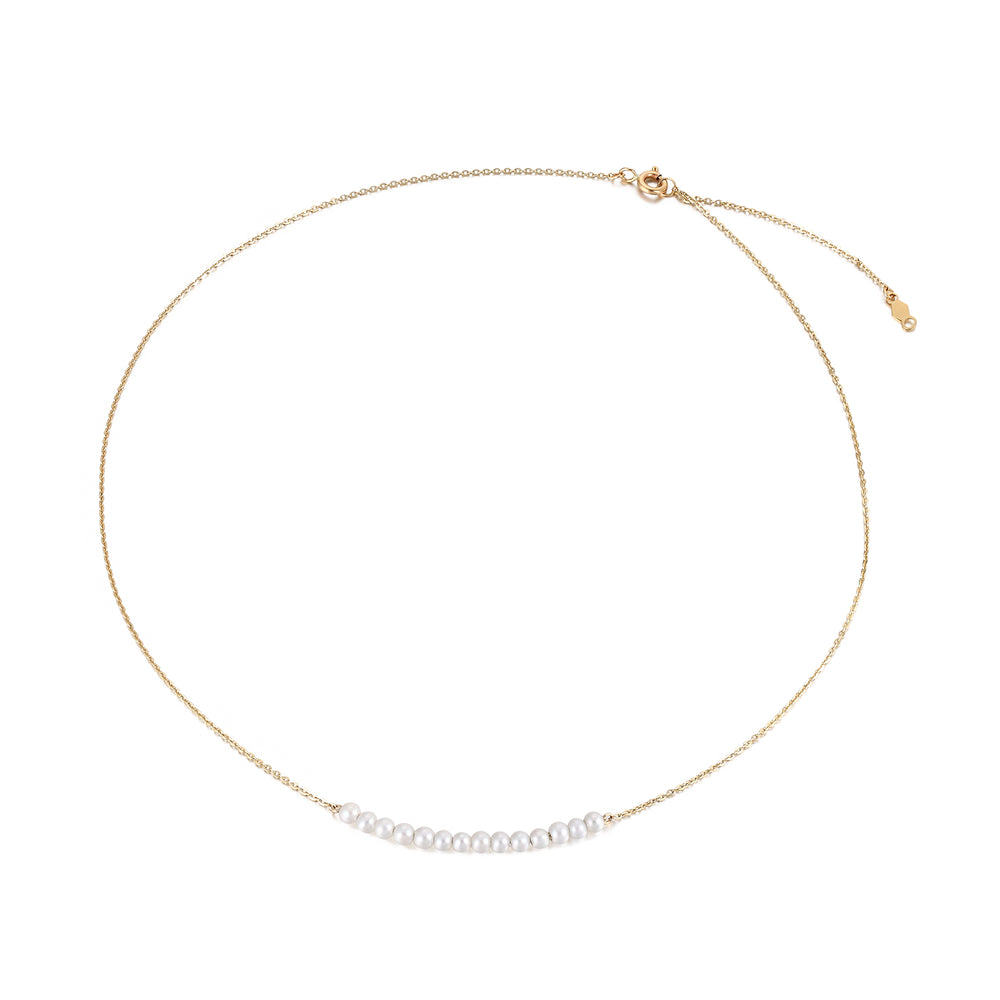 gold pearl string necklace - seol-gold