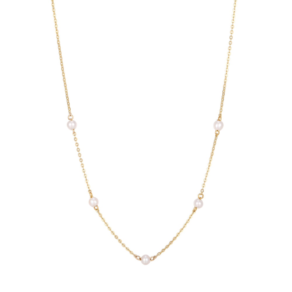 9ct Gold Pearl Beaded Necklace