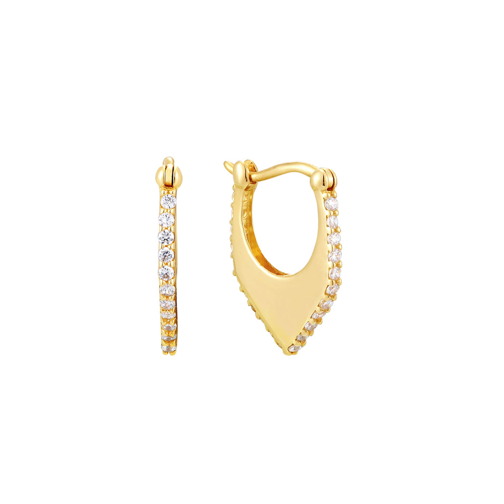 9ct Gold Geometric CZ Creole Hoops