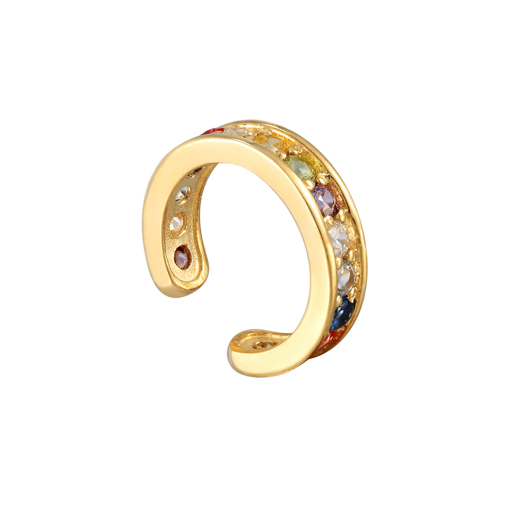 9ct gold - rainbow cuff earring - seolgold