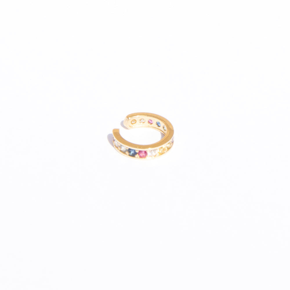 9ct gold Rainbow cz cuff earring - seol-gold