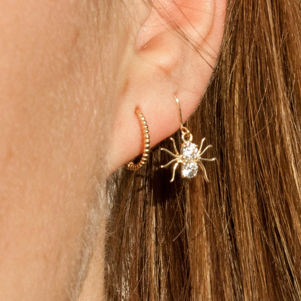 9ct Gold CZ Spider Earrings - seol-gold