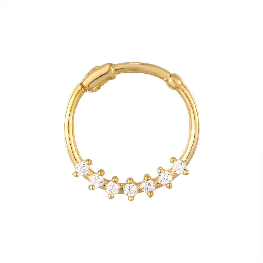 9ct Gold CZ Studded Segmented Hoop