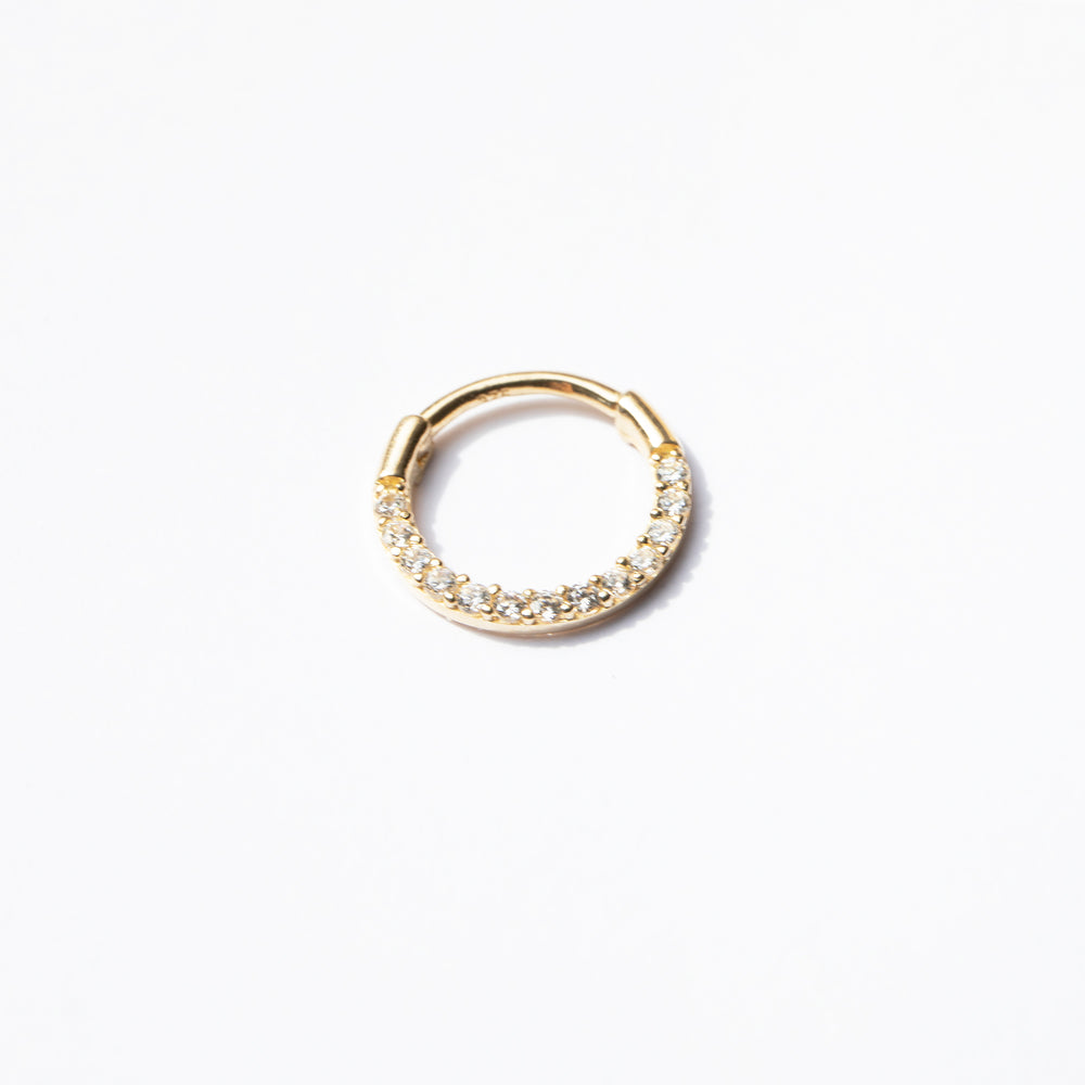 9ct Gold CZ Clicker Hoop