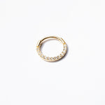 9ct gold cz studded clicker hoop - seol-gold