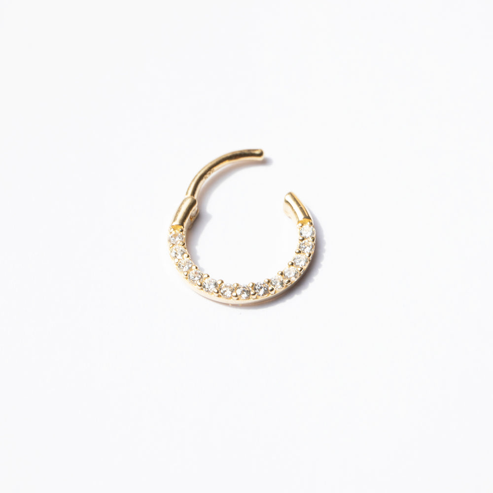 9ct gold cz hoop - seol-gold