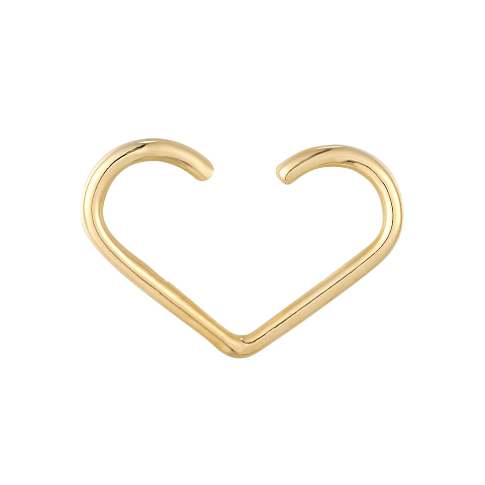 9ct gold heart wire hoop - seol-gold