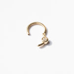 9ct gold cz bezel clicker hoop - seol-gold