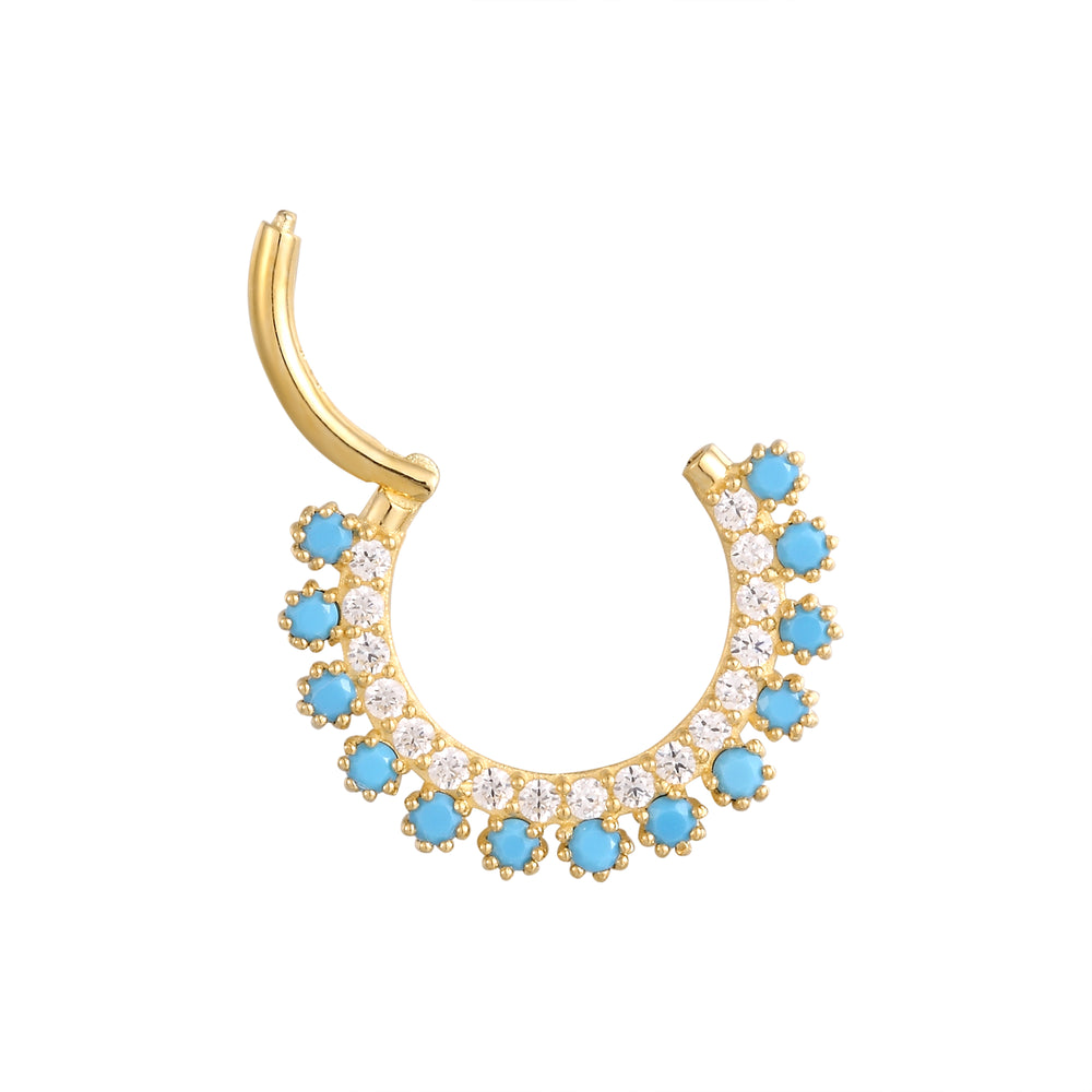 9ct Gold Turquoise Clicker Hoop