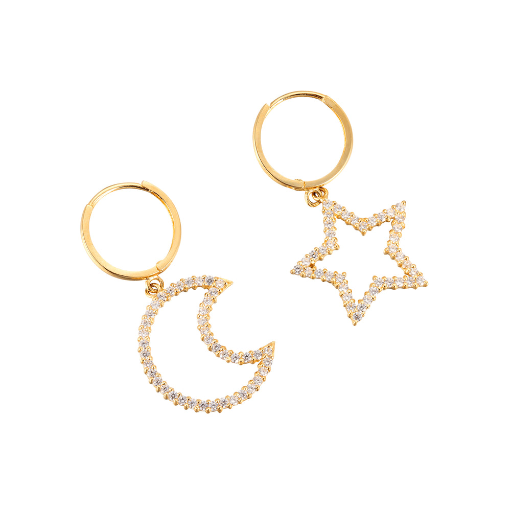 9ct gold - moon - star hoops - seolgold