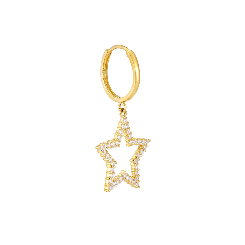 9ct Gold CZ Star and Moon Hoop Earrings