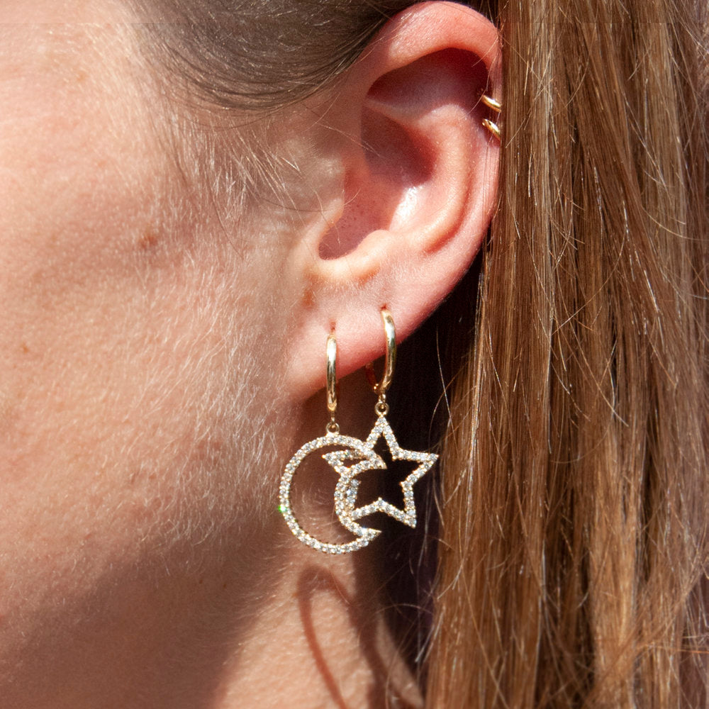 9ct Gold CZ Star and Moon Hoop Earrings - seol-gold