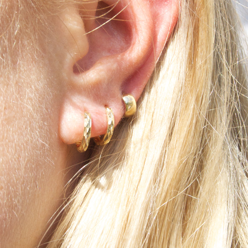 9ct Gold Faceted Hoops