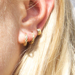 9ct Gold Faceted Hoops - seol-gold
