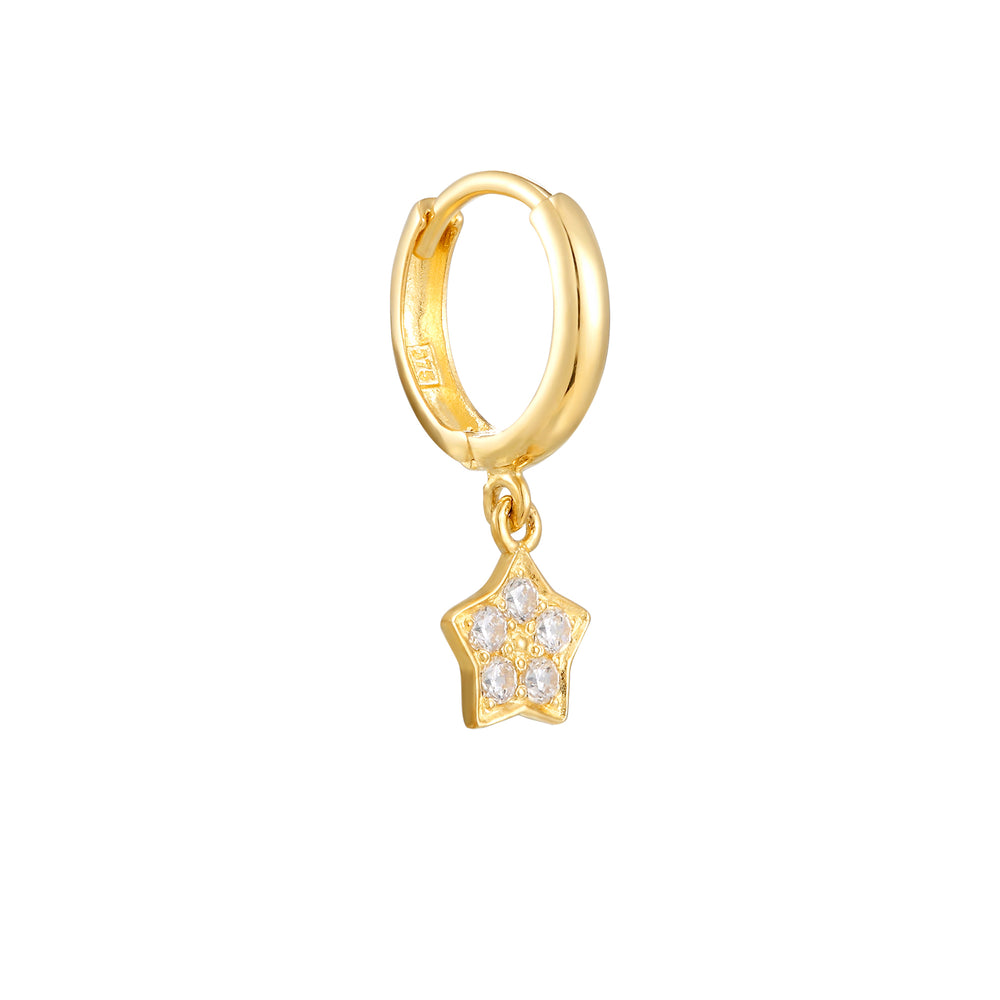 Star Charm Cubic Zirconia Hoops