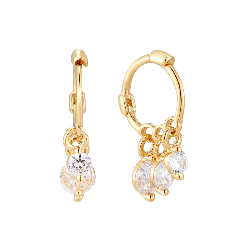9ct Gold CZ Charm Hoops
