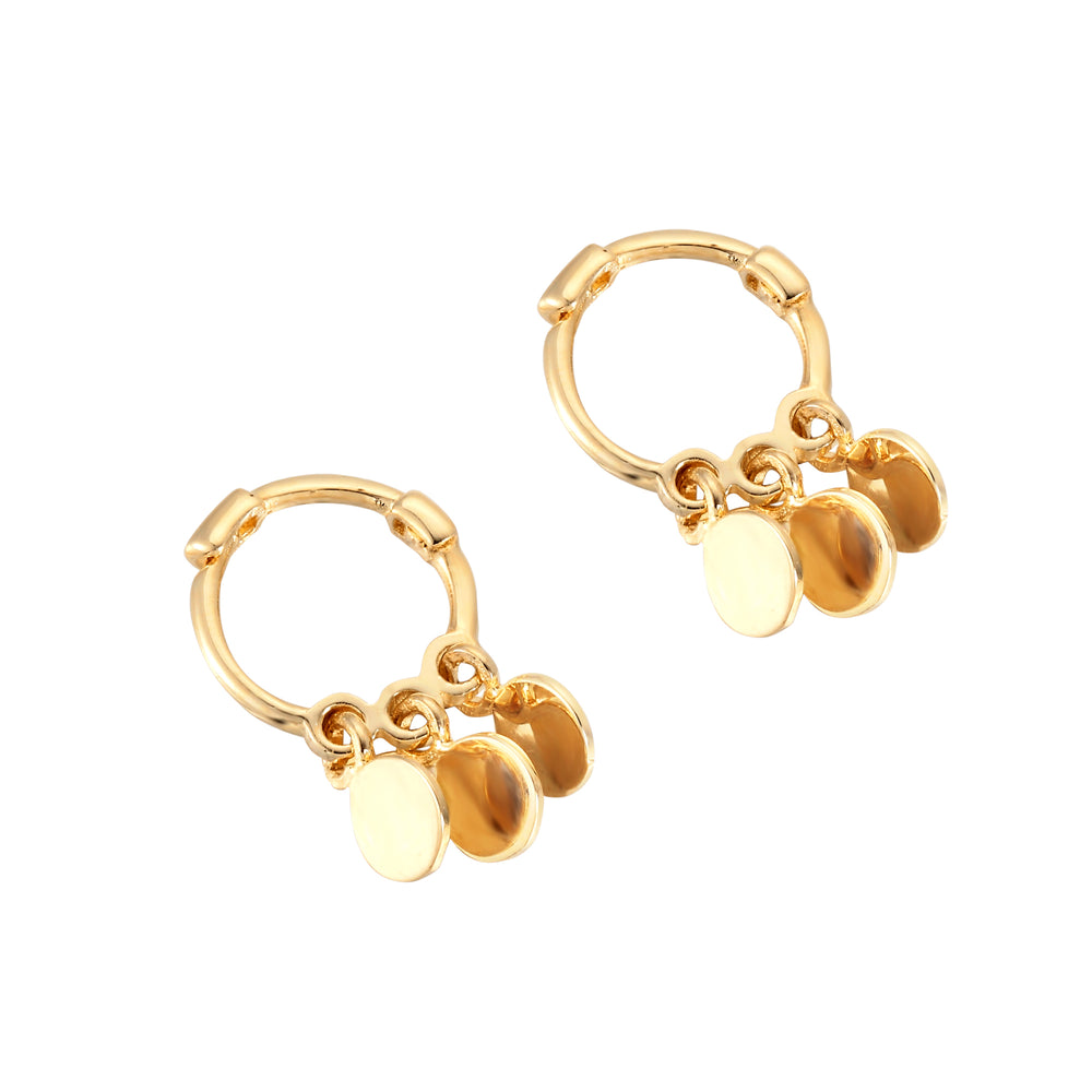 9ct gold - disc charm hoops - seolgold