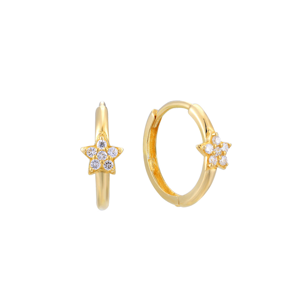 9ct Gold Star CZ Hoops