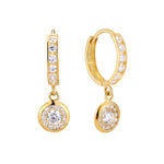 9ct Gold CZ Studded Charm Huggie Hoops - seol-gold