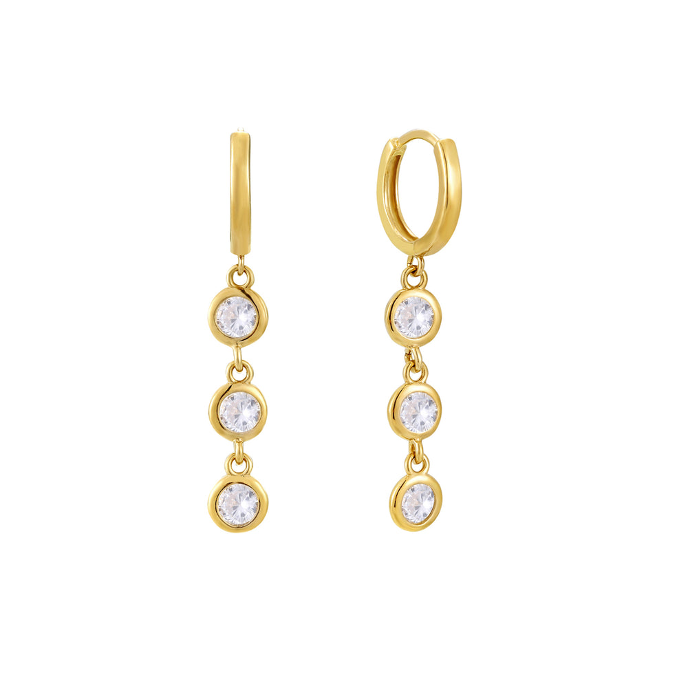 9ct gold - cz charm hoops - seolgold
