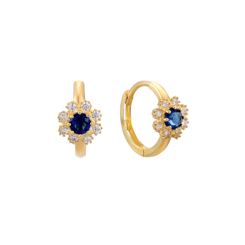 9ct gold cz and sapphire flower hoop earrings - seol-gold