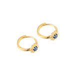 sapphire gold hoop earrings - seolgold