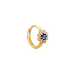 9ct Gold CZ and Sapphire Flower Hoops