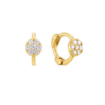 Tiny Pave CZ Circle Huggie Earrings