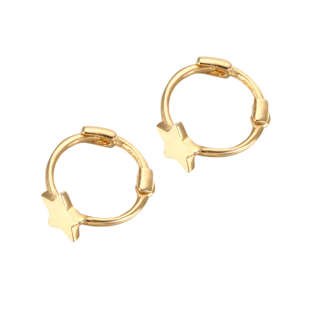 9ct gold - tiny star hoops - seolgold