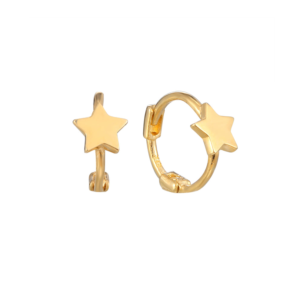 9ct Gold Tiny Star Huggie Earrings