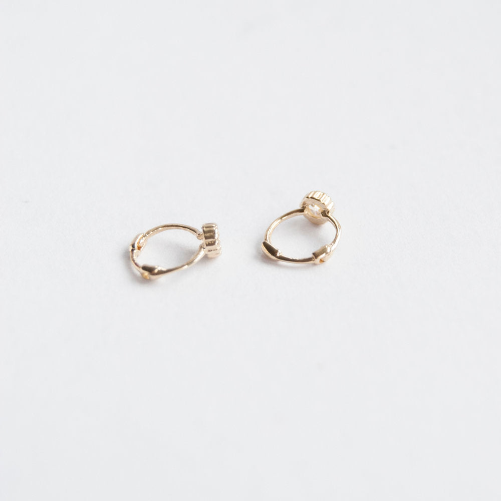9ct Gold Tiny Scallop Bezel CZ Huggie Hoops - seol-gold