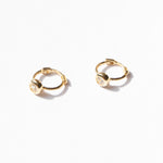 9ct Gold Tiny CZ Bezel Hoops