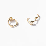 9ct gold tiny cz bezel hoops - seol-gold