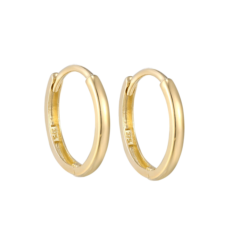 9ct Yellow Gold Plain Huggie Earrings - seol-gold