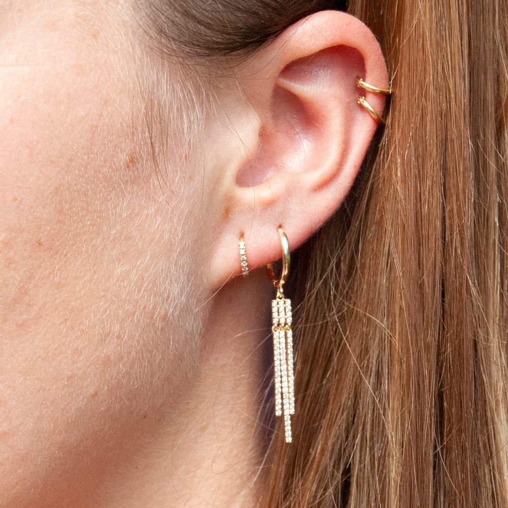 9ct Gold CZ Hoop Earrings - seol-gold