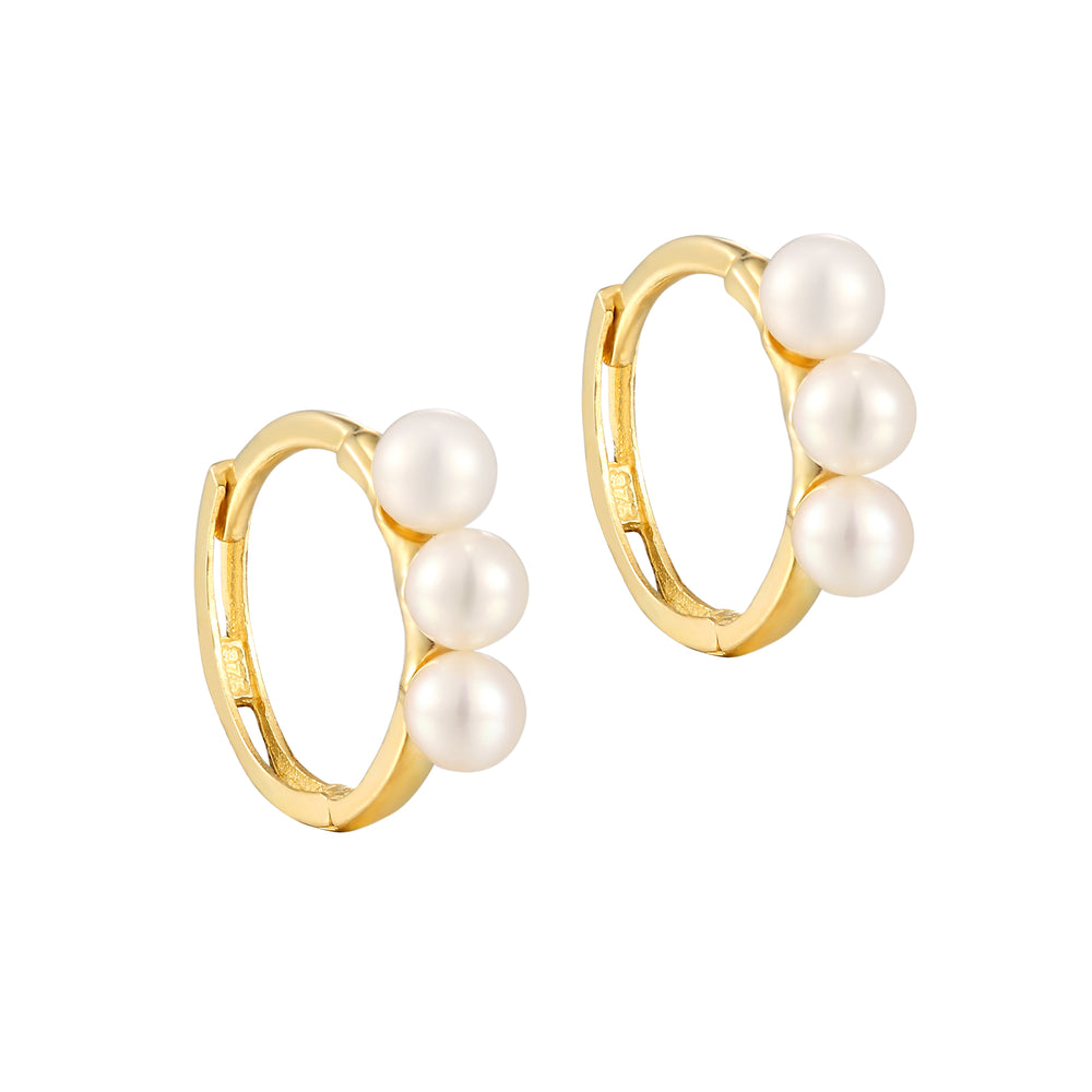 9ct gold - pearl hoop earrings - seolgold