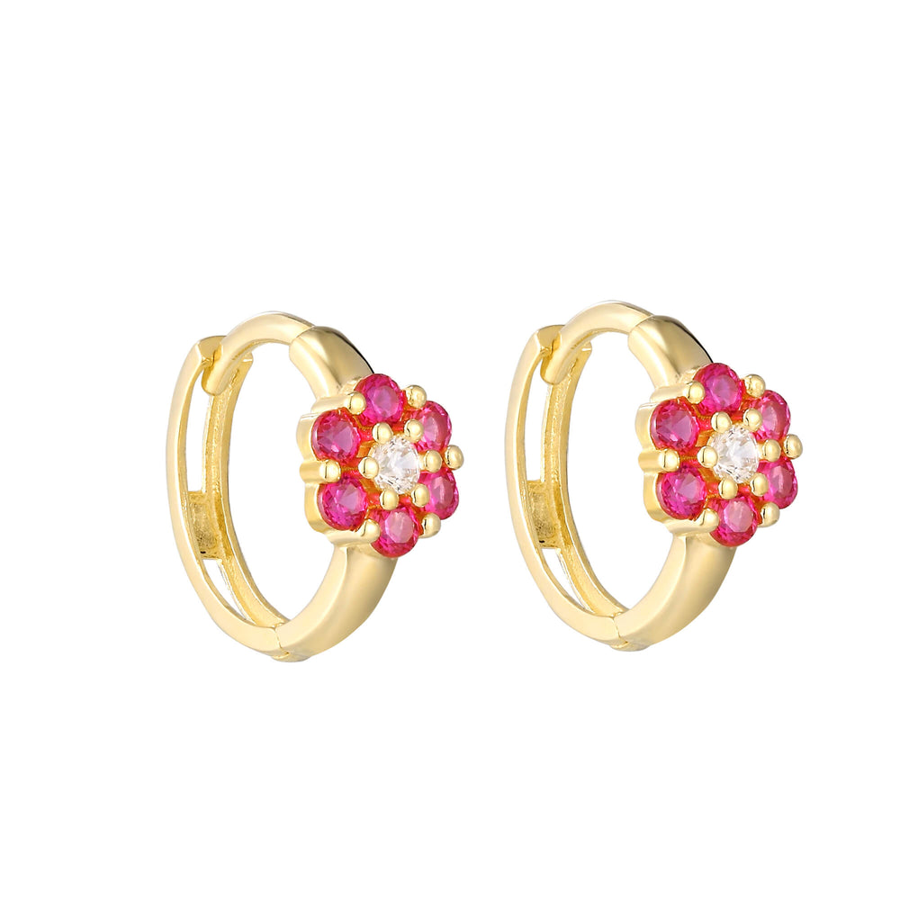 ruby gold hoops - seolgold