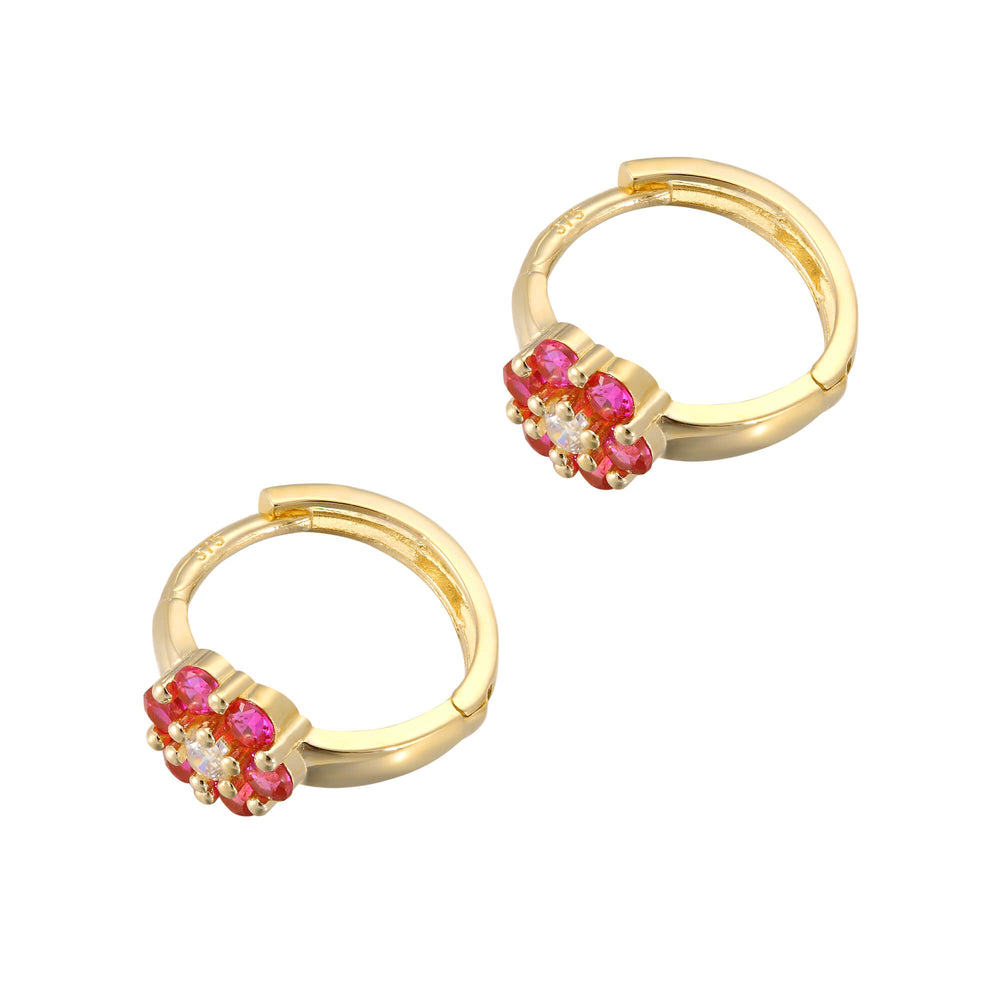 gold cz hoop earrings - seol-gold