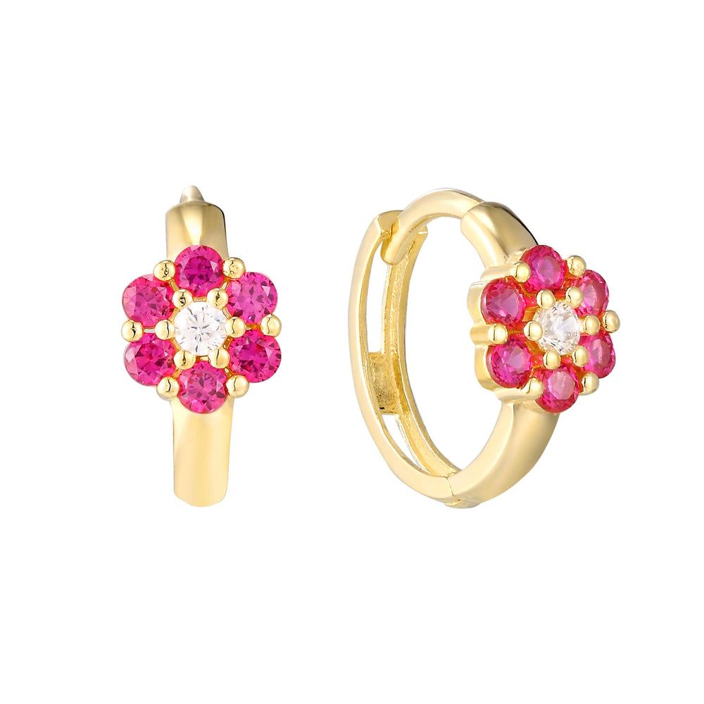 ruby hoop earrings - seol-gold