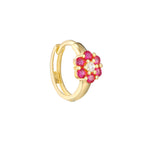 9ct Gold CZ and Ruby Flower Hoop Earrings