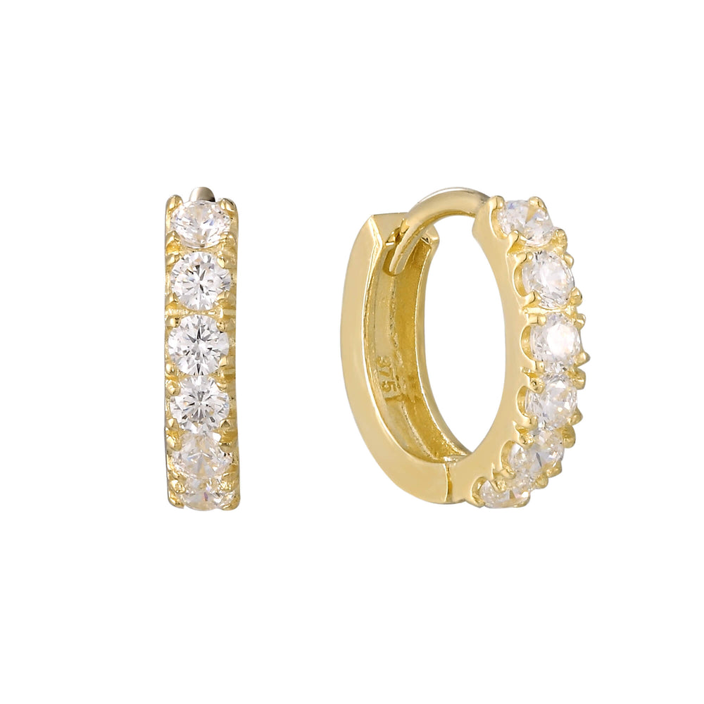 9ct Gold CZ Tiny Hoops