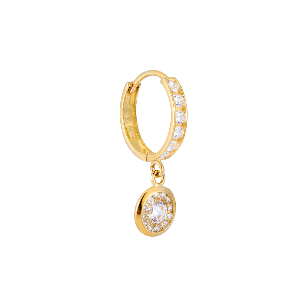 9ct Gold CZ Charm Huggie Hoops