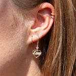 9ct Gold 'Love' Heart Hoop Earrings