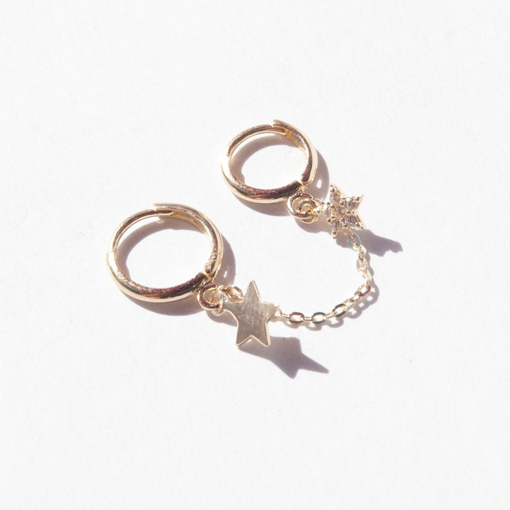9ct Gold Star Charm Chain Hoop - seol-gold