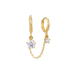 9ct Gold CZ Charm Chain Hoop - seol-gold
