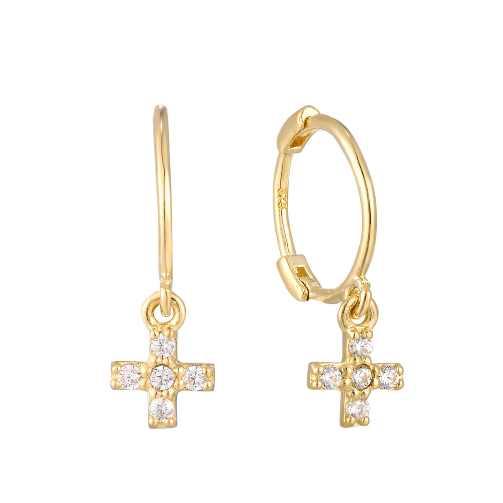 9ct Gold Tiny Cross Charm Hoops